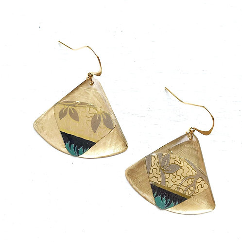Vintage Tin Earrings, Resin Dangles in Shimmery Gold Fan