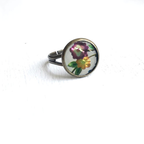 Vintage Tin Ring, Shining Floral in White, Purple and Gold