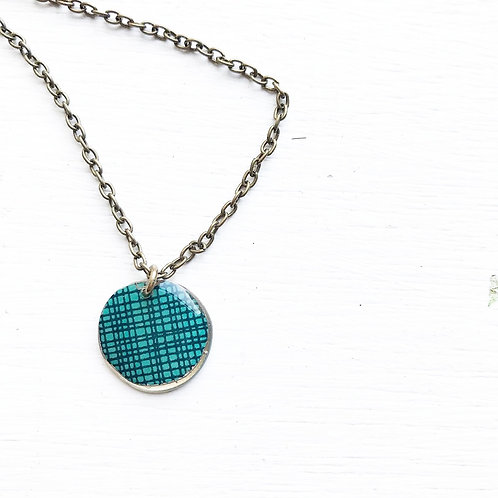 Vintage Tin Necklace, Resin Coin in Crosshatch Turquoise