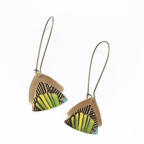 Vintage Tin Earrings, Resin, Stacked Triangle, Kidney Wire in Graphic Stripes