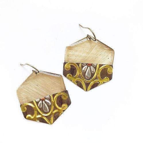 Vintage Tin Earrings, Resin Dangles, Golden Hexagon in Gold & Brown Florish