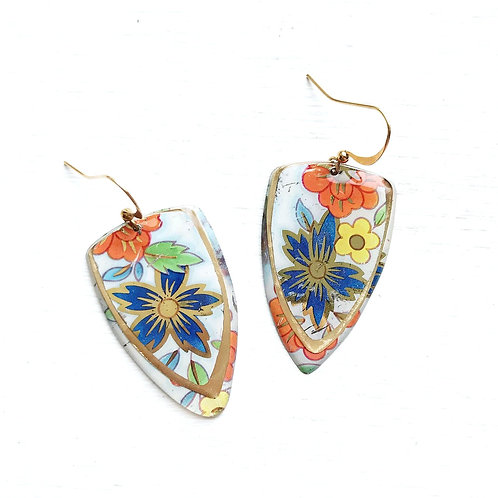 Vintage Tin Earrings, Resin Dangles, Arrowhead Drops in Bright Garden