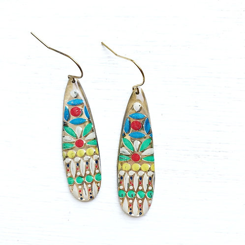 Vintage Tin Earrings, Resin Dangles, Skinny Drops in Colorful Dotted Design