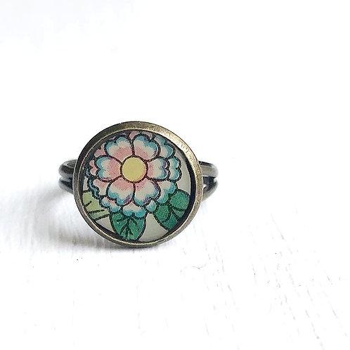 Vintage Tin Ring, Pastel Flower