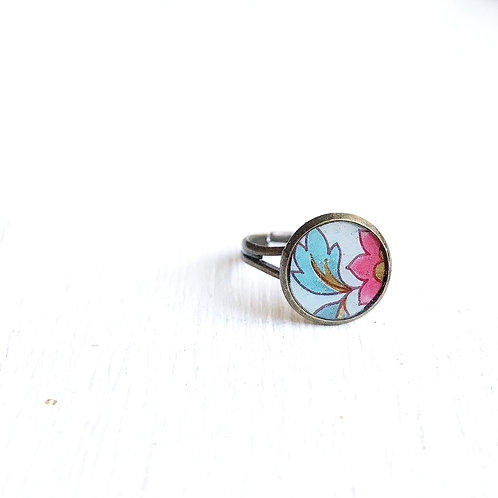 Vintage Tin Ring, Pink and Blue Flower
