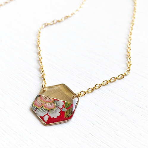 Vintage Tin Necklace, Resin Hexagon in in Red with Festive Flower