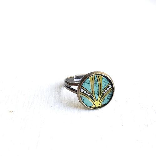 Vintage Tin Ring, Green Flourish