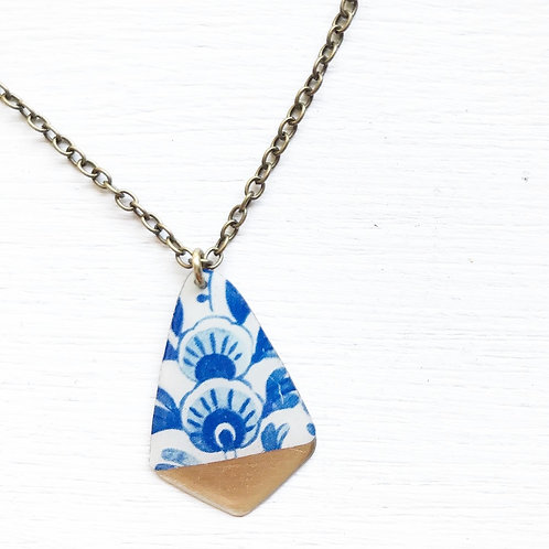 Vintage Tin Necklace, Resin Gold Tipped Drop in Royal China
