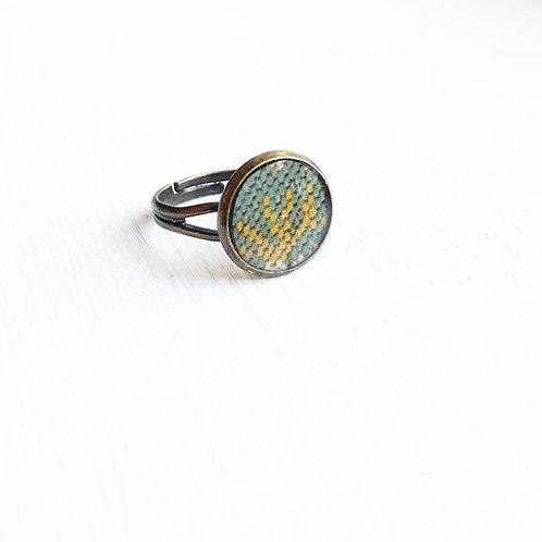 Vintage Tin Ring, Blue Needlepoint