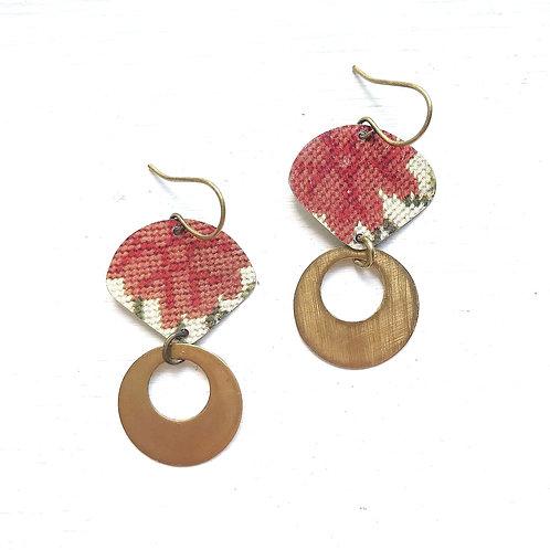 Vintage Tin Earrings, Fan & Loop Dangles in Coral Flower Needlepoint