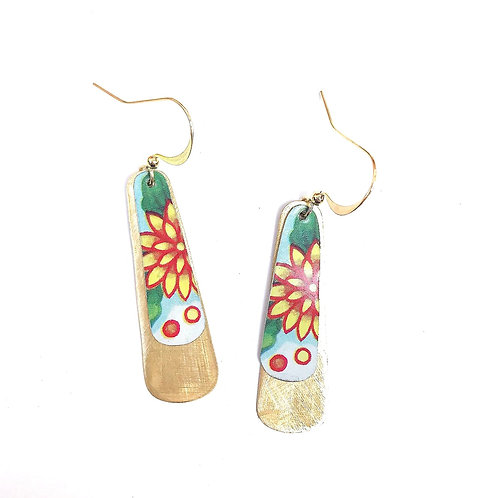 Vintage Tin Earrings, Dangle Columns with Yellow Flower with Green and Orange