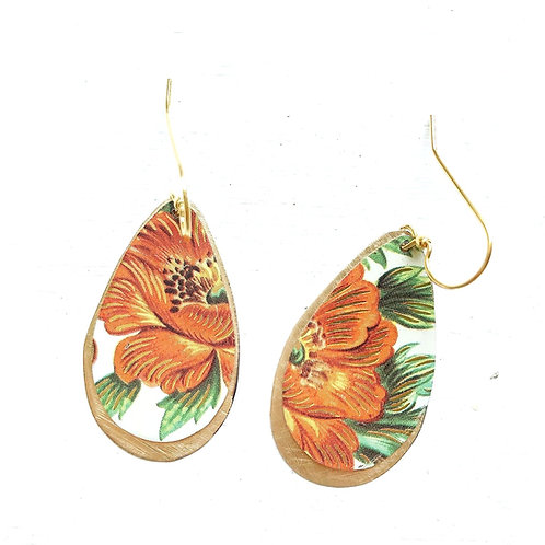 Vintage Tin Earrings, Large Drops with Orange, and Gold Flower