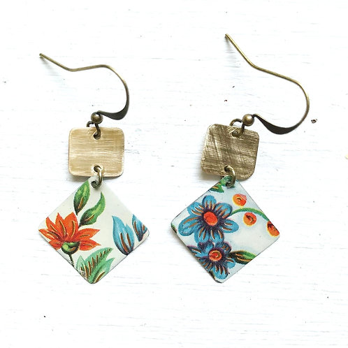 Vintage Tin Earrings, Stacked Squares in Bright Orange and Blue Flowers