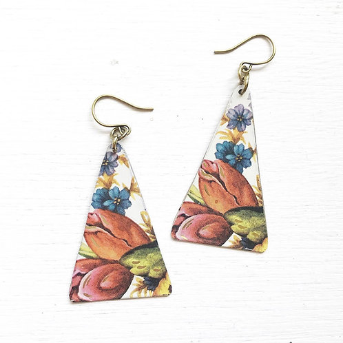 Vintage Tin Earrings, Long Triangle in Colorful Garden