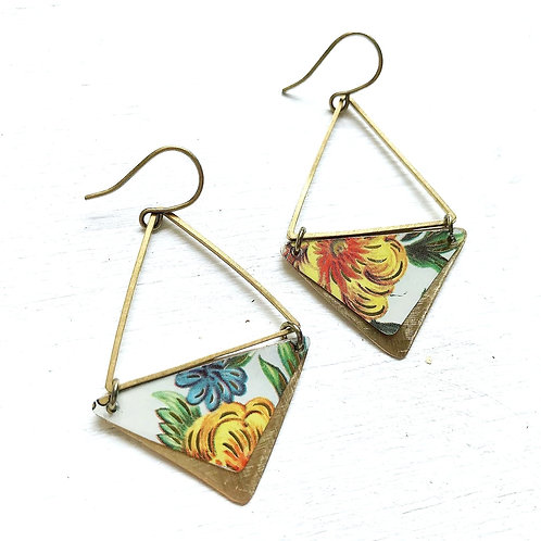 Vintage Tin Earrings, Brass Triangles with Pretty Flowers in Yellow, Green and B