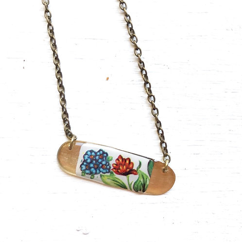 Vintage Tin Necklace, Resin Bar in Pretty Garden