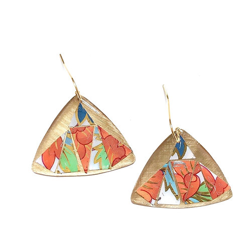 Vintage Tin Earrings, Mosaic Pointed Wing in Orange, Green and Blue