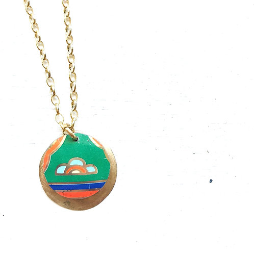 Vintage Tin Necklace, Layered Coin, Colorful Design on Green Background