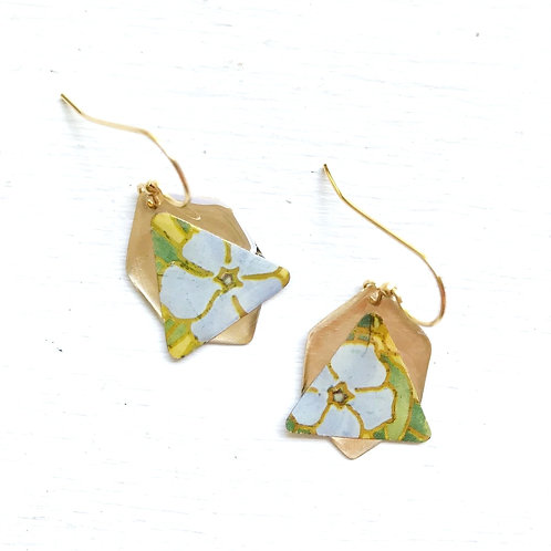 Vintage Tin Earring, Resin Dangle, Triangle Bell in Blue Flower