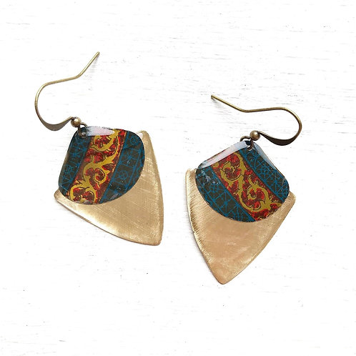 Vintage Tin Earrings, Resin Dangles, Shield Drops in Royal Navy and Red