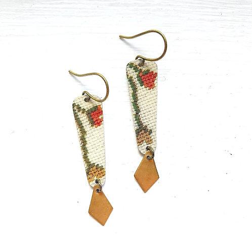 Vintage Tin Earrings, Column & Diamond Dangle in Needlepoint Vine