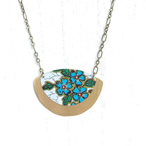 Vintage Tin Necklace, Expanded Fan with Blue Flowers