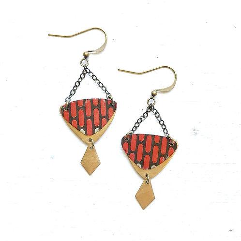 Vintage Tin Earrings, Chain Dangle with Diamond Charm, Orange Tile Design