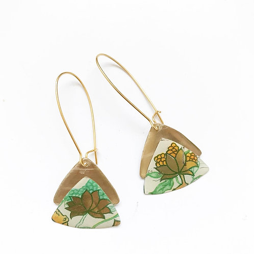 Vintage Tin Earrings, Resin, Stacked Triangle, Kidney Wire, Green & Gold Flower