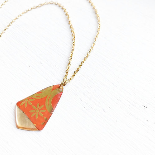 Vintage Tin Necklace, Resin Gold Tipped Drop in Orange Flourish