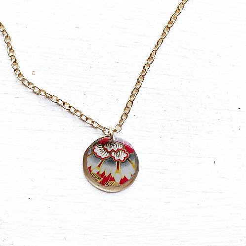 Vintage Tin Necklace, Resin Coin in Red with Festive Flower