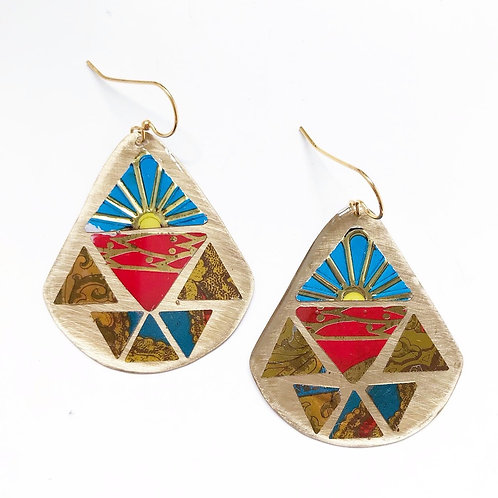 Vintage Tin Earrings, Round Wing in Blue and Red Sunrise