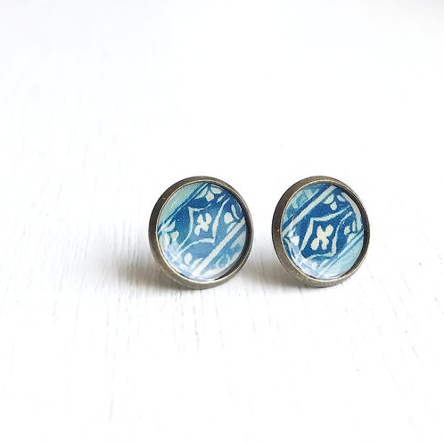 Vintage Tin Earrings, Resin Studs in Indigo Pattern