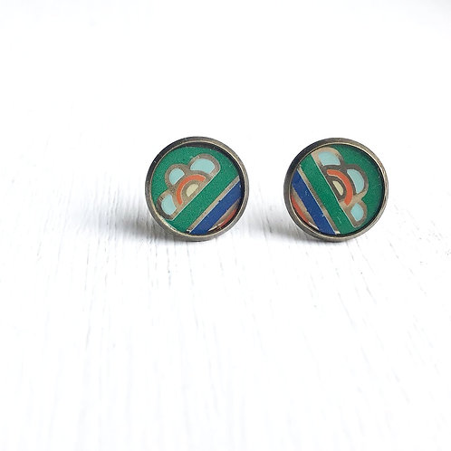 Vintage Tin Earrings, Resin Studs in Stripe & Bloom with Green, Blue, and Orange