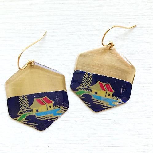 Vintage Tin Earrings, Resin Dangles, Golden Hexagon in Little House