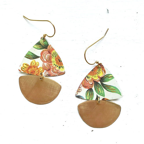 Vintage Tin Earrings, Pretty Sails in Pink and Green Flower