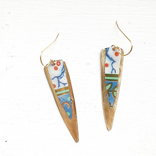 Vintage Tin Earrings, Resin Dangles, Long Point in Blue, Red, and White