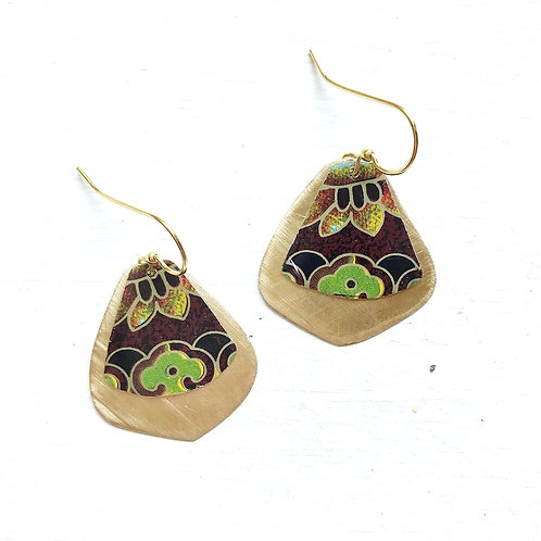 Vintage Tin Earrings, Pointed Drop in Brown, Green, and Gold