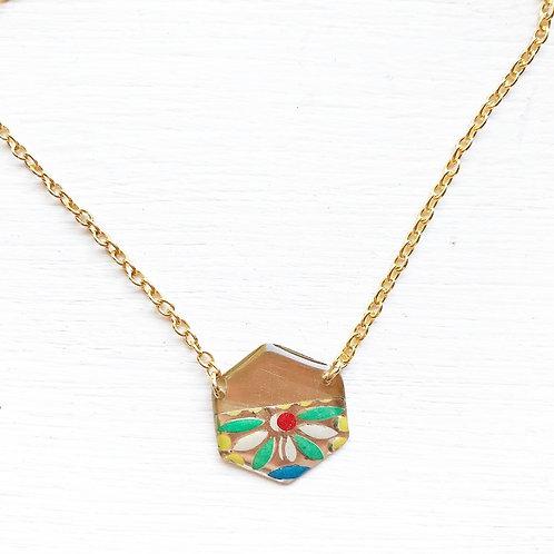 Vintage Tin Necklace, Resin Hexagon in Dot Design
