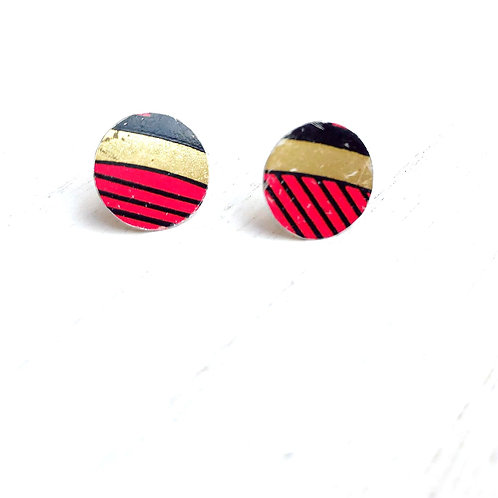 Vintage Tin Earrings, Circle Stud in Red, Black and Gold Stripe