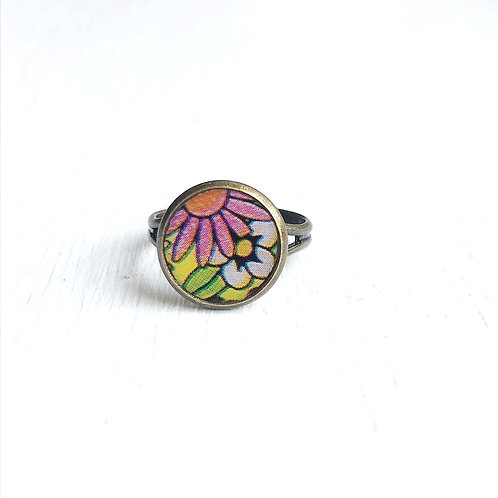 Vintage Tin Ring, Retro Bloom in Pink and Yellow