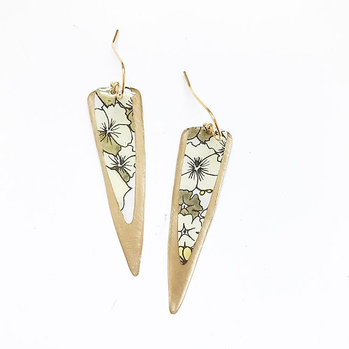 Vintage Tin Earrings, Resin Dangles, Long Point in Natural Flower