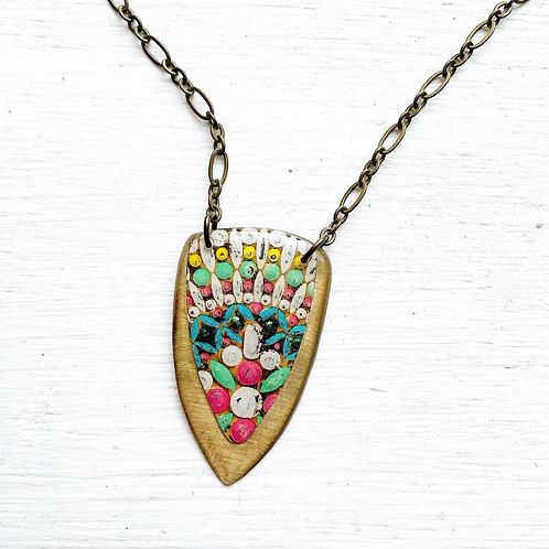 Vintage Tin Necklace Layered Arrow, Resin, Colorful Patina