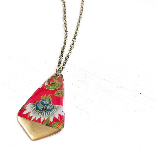Vintage Tin Necklace, Resin Gold Tipped Drop in Red with Festive Flower