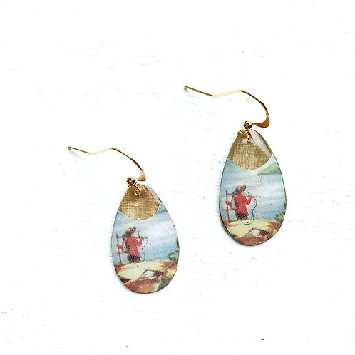 Vintage Tin Earrings, Resin Dangles, Small Drops with Lone Travler
