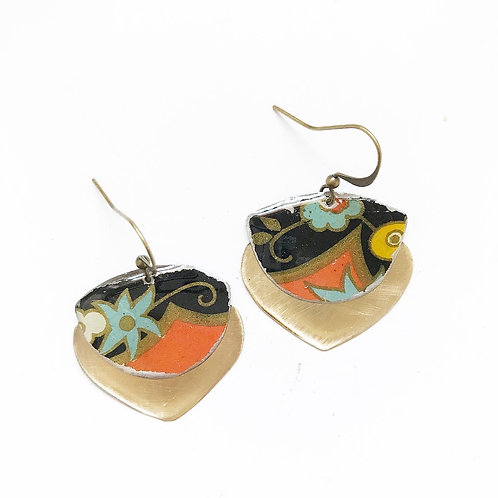 Vintage Tin Earrings, Resin Dangles, Gibbous Earrings in Black & Orange Patina