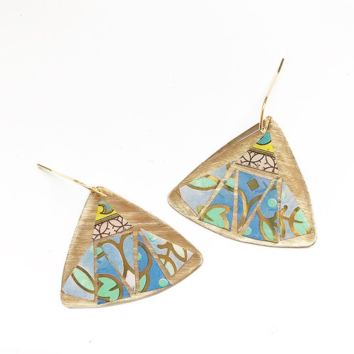 Vintage Tin Earrings, Mosaic Pointed Wing in Pink, Blue, Green and Yellow
