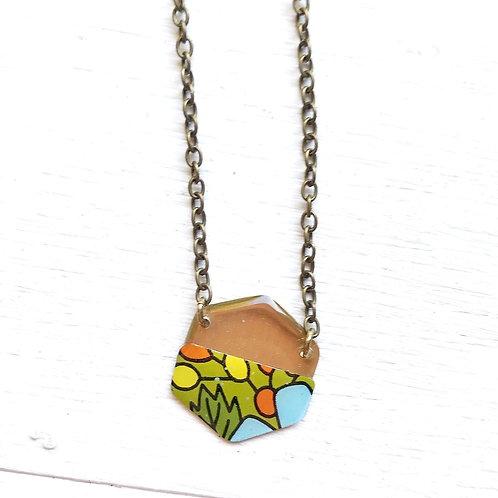 Vintage Tin Necklace, Resin Hexagon in Retro Pop