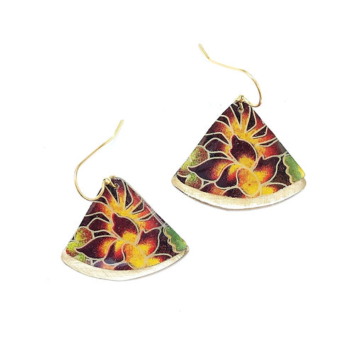 Vintage Tin Earrings, Resin Dangles in Autumn Garden Fan