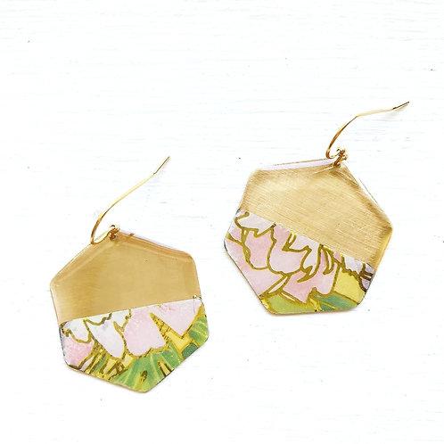 Vintage Tin Earrings, Resin Dangles, Golden Hexagon in Pink Blossom