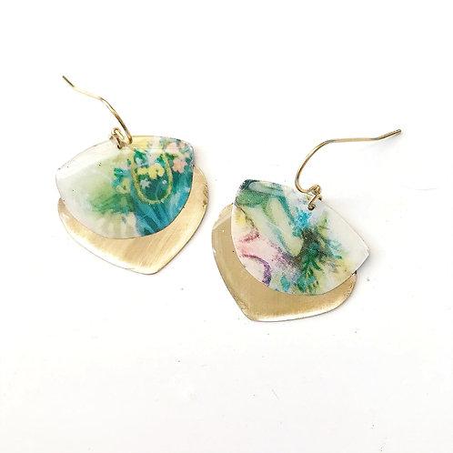 Vintage Tin Earrings, Resin Dangles, Gibbous Earrings in Pastel Watercolor